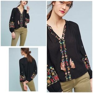 NWT Maeve LANIE Floral Embroidered Tassel Blouse S